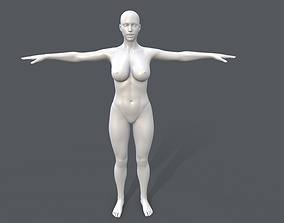 Middle poly female basemesh - 4 3D model low-poly
