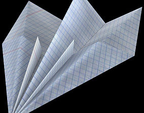 3D asset low-poly Paper airplane