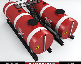 Oil tank industrial double 3D asset