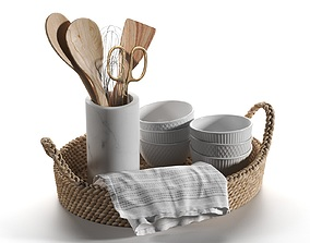 3D Basket with Utensils and Napkins