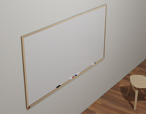Wood Framed Whiteboard 3D asset