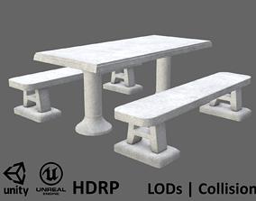 3D asset Game-ready Concrete Picnic Table - Unity - HDRP -