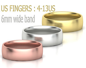 Traditional Court Wedding Band 6mm 3D printable model 2