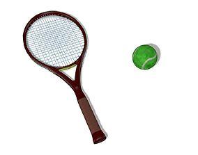 Tennis Racket and ball Rig 3D asset