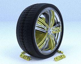 3D model ORTAS CAR RIM 5 GAME READY RIM TIRE AND DISC