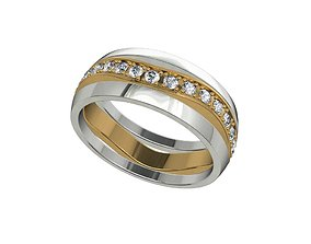Wedding Set Bands For Marriage Engaged 3D Model