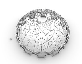 3D Triangulated Dome Pavilion wireframe structure