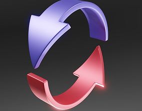 Half loop arrow 3D model