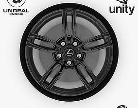 Wheel Steel-Chrome Dark Alloy Rim Lexus 19 inch 3D asset 1