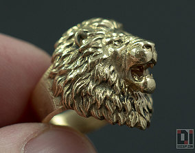 3D print model Angry Lion roaring animal ring jewelry