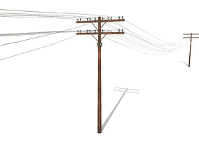 3D asset Electricity Pole 33 Weathered