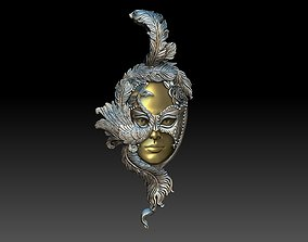 Lady Peacock Venetian Carnival Mask pendant 3D print model