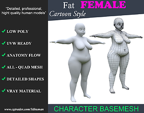 Low poly Cartoon Fat Female Basemesh 001 - 190710 3D asset