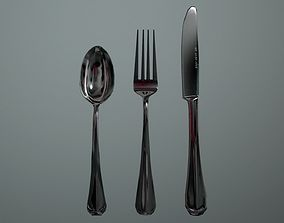 Silver flatware - Game ready low-poly 3D model low-poly 1