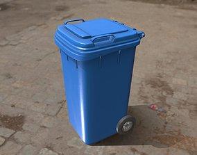3D model Plastic Waste Bin Blue 240 Liters 1075x515x582