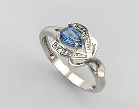 Design ring with sapphires and 3D printable model