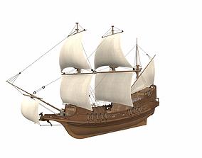 Sea sailing ship Golden Hind 3D