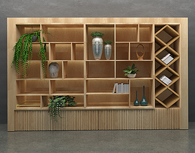 Modern Wood Shelf Bookcase 3D Model