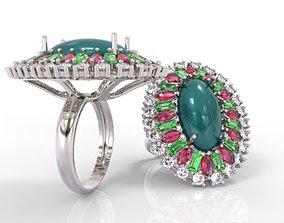 Classic Cabochon Ring and Precious Stones 3D print model