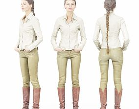 3D asset Braid Girl in Brown Leather Boots and White Shirt