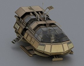 Futuristic Transport Shuttle Rigged 3D model animated