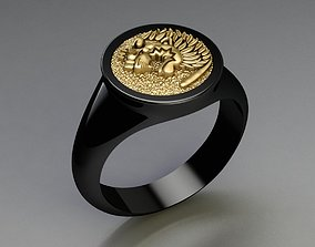 3D print model Lion Signet Solid Rings in US Sizes