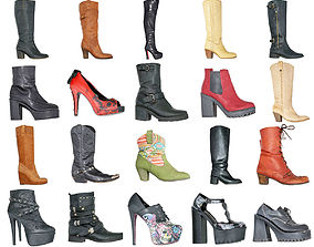 3D model 20 Boots and Heels Shoe Footwear Women Collection