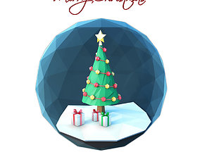 3D model Low poly Christmas scene inside a glass ornament