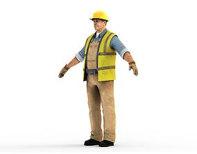 3D asset Worker CATRig Pose A