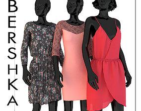 3D model Set of womens clothing dresses Bershka