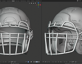 Modern Football Helmet with various 3D printable model