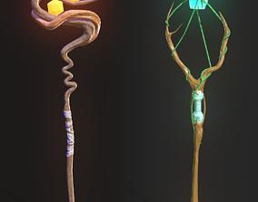 3D asset VR / AR ready Two Magical Staffs
