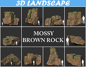 Low poly Blocky Mossy Brown Rock Pack 190830 3D model