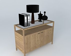 3D model modern sideboard with accessories