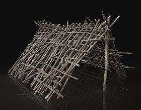 Shelter Hut made of sticks 3D model
