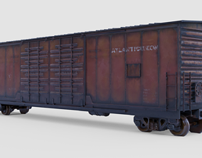 3D asset BOXCAR - cargo train PBR