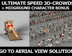 3d crowds and Beauty midground tanning beach girl