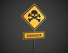 3D model Danger Sign