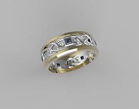 viking 3D print model celtic male band ring with stone