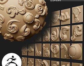 29 VDM Brushes of Decor ornaments for ZBrush 3D model