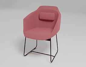 ULTRA - Sled base upholstered fabric chair with 3D model 1