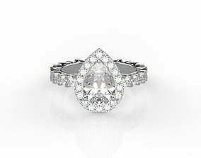 diamond Pear shaped engagement ring 3D print model