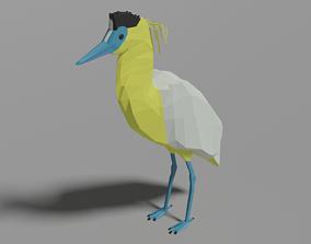 Cartoon Capped Heron 3D model