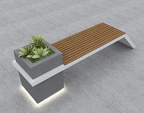 Modern Bench Street and Garden 4 3D