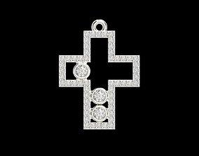 Cross pendant with gems 3dm stl CAD