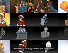 3D Mouses souvenirs Happy New Year 2020 set