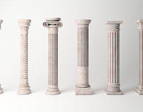 Antique Column Pack - 6 Pieces 3D asset
