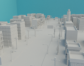 City Low Poly 3d model Town Low-poly 3D animated