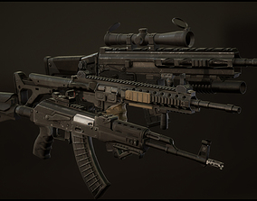 Weapon Pack 3D asset rigged