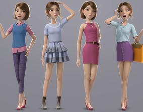 Cartoon Girl Rigged 3D PBR